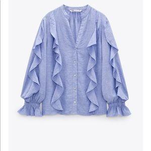 Zara Ruffle Rustic Shirt